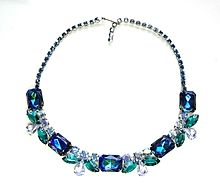 Vintage  Blue Watermelon Rhinestone Necklace