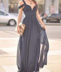 Cute Gray A-line off shoulder long prom dress for teens, bridesmaid dress