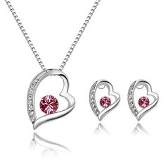 Valentine Special In My Heart Necklace Set pink andsilver