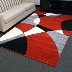Modern Black, White And Red Area Rug