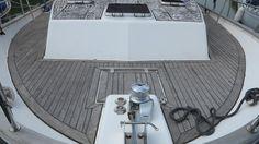 This is the original teak deck - great before photo! #Teak #SytheticTeak #Boat #Yacht #Motoryacht #BeautifulMarineFloors