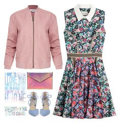 Everyday Lyrics by musicfriend1 on Polyvore featuring polyvore moda style Mary Katrantzou Helmut Lang Kristin Cavallari Rebecca Minkoff fashion clothing bomberjacket beautifuldress topset metallicclutch laceupshoes