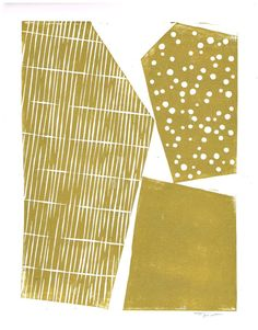 GEOMETRIC MODERN SHAPES PRINT - GOLD - 9 X 12