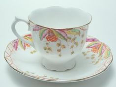 Royal Albert Virginia Orange Leaves Hand Painted Tea Cup and Saucer Vintage Fine Bone China Made in England