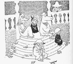 tove jansson 'sent i november' Moomin Books, Elsa Beskow, Moomin Valley, Tove Jansson, Graphic Illustration, Illustrations, Little My, A Comics, Easy Drawings