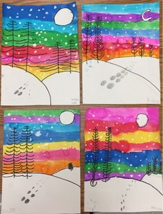 Winter landscapes by grade – one day project (Mrs. Knight's Smartest Artists… Winter landscapes by grade – one day project (Mrs. Knight's Smartest Artists) – Classroom Art Projects, School Art Projects, Art Classroom, Diy Projects, Art Projects Kids, First Grade Art, 2nd Grade Art, Grade 2, Christmas Art Projects