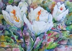 """Watercolour painting of white flowers by Nora MacPhail: #watercolor, #art, #flowers, #homedecor, 5""""x7""""painting with 8""""x10""""mat, $50"""
