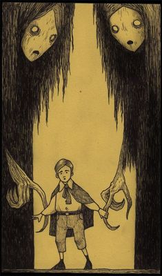 Artist John Kenn creates fantastical freaky, dark and detailed illustrations that bring to mind the darkest fears of imagination. His fantasy-filled drawings beckon us to far away worlds, where fairy tale witches are real and evil monsters exist. Art And Illustration, Gravure Illustration, Illustrations, Monster Art, Arte Horror, Horror Art, Don Kenn, Art Noir, Arte Obscura