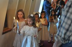 St. Theophan Academy: Presentation Tea - what an awesome idea! Having a tea for the little girls after divine liturgy for The Presentation of the Theotokos in the Temple. Here the girls are processing with candles and icons.