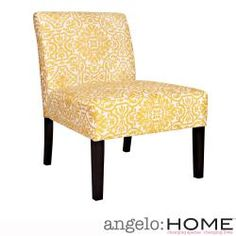 @Overstock - Add a vibrant pop of color to your home décor with this armless yellow chair. This stylish chair by Angelo Surmelis features a dark espresso finish on its wooden legs and beautiful upholstery with a yellow damask against an ivory background.http://www.overstock.com/Home-Garden/angelo-HOME-Bradstreet-Damask-Yellow-Cream-Armless-Chair/6807964/product.html?CID=214117 $164.99