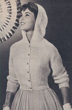 Vintage Knitting Pattern To Make Hooded Sweater Jacket Cardigan Eveninghooded Crochet Vintage, Vintage Knitting, Hooded Sweater, Sweater Jacket, Retro Fashion, Vintage Fashion, Vintage Winter, Sweater Knitting Patterns, Mode Vintage