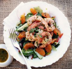 Prawn, avocado and ClemenGold salad with spicy vinaigrette
