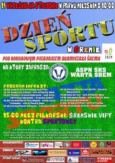 Dzień Sportu 14 września na stadionie w parku miejskim w Śremie. więcej na www.sportowy.naszsrem.pl