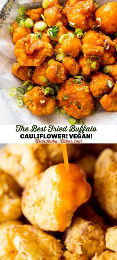 This Spicy Buffalo Fried Cauliflower starts with fresh cauliflower florets that are buttermilk marinated then fried to golden brown perfection and finally tossed in a spicy buffalo sauce. #cauliflower #fried #buffalo #buffalocauliflower #cauliflowerwings #vegan #vegetarian #superbowl