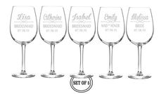5 ETCHED WINE GLASSES Personalized Favors by CreativeButterflyXOX, $65.00
