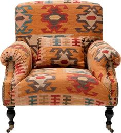 kelim textile upholstered chair.