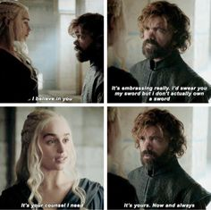 Daenerys & Tyrion (6x10) to me this was one of the most beautiful moments on game of thrones because after everything he's been through he came out on top. the hand of the queen