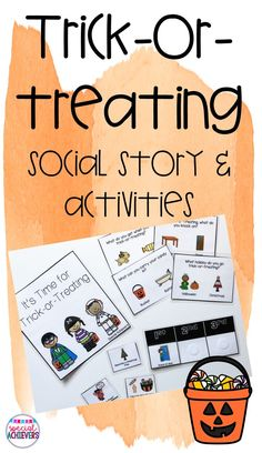 Trick-or-treating can be a difficult skill for some students. This social story can help prepare them to participate in all of the trick-or-treating fun! It takes them through picking a costume, bringing an adult to trick-or-treat and the steps for trick- Autism Activities, Therapy Activities, Therapy Ideas, Special Education Classroom, Classroom Behavior, Halloween Activities, Halloween Costumes, Social Stories, Social Skills