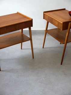 Furniture - two columbia road A B Carlstrom – Pair of Teak Bedside Tables 1970s bedside tables with drawer unit. Teak and birch construction. Drawer unit with useful magazine / bookshelf. Teak has great patina. Stamped on the underside with AB Carlstrom label. H. 52.5cm. L. 45cm. D. 33cm. Location: Shop. Designer: A B Carlstrom. Production: Made in Denmark. £550 pair Two pairs available