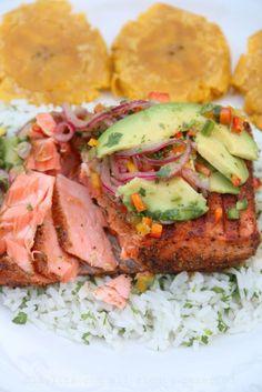 Latin style grilled salmon w/ avocado salsa recipe Grilled Salmon Recipes, Fish Recipes, Seafood Recipes, Paleo Recipes, Cooking Recipes, Tilapia Recipes, Cuban Recipes, Grilled Fish, Cooking Tips