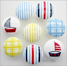 Hand Painted Knob Dresser Drawer - Nautical - Sailboats - Gingham - Stripes