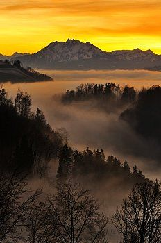Foggy mood in the evening light with view on Mt. Pilatus, Zug