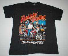 VINTAGE HARLEY DAVIDSON MOTORCYCLES ELVIS PRESLEY ROCKIN N ROLLIN SHIRT 1987 XL