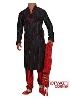 Black Red Dots Lined Sherwani