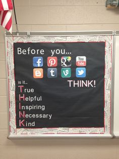 THINK bulletin board for high school students….(this could apply to more than high school students!) THINK bulletin board for high school students….(this could apply to more than high school students! School Counselor Office, High School Counseling, School Social Work, High School Classroom, High School Students, High School Principal, Highschool Classroom Decor, Year 6 Classroom, Principal Office Decor