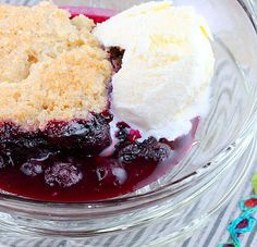 Blueberry Cobbler Warm Blueberry Cobbler served with vanilla ice cream, a delicious reminder that Spring is but 2 months away.