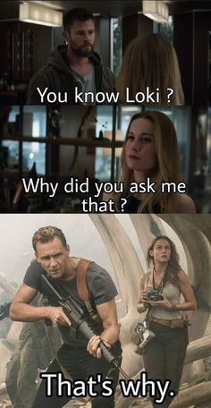 Marvel/ End Game/ Thor: You Know Loki? Captain Marvel: Why did you ask me that? the Kong Skull island Movie: That's Why Avengers Humor, Marvel Jokes, Films Marvel, Funny Marvel Memes, Marvel Cinematic, Loki Meme, Loki Funny, Marvel Avengers, Marvel Heroes