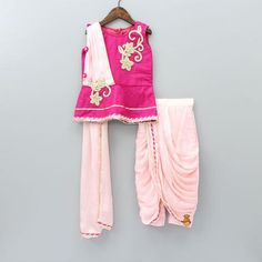 Pre Order: Pink Peplum Top With Attached Dupatta And Dhoti Style Pyjama Wedding Dresses For Kids, Dresses Kids Girl, Kids Outfits, Frocks For Girls, Kids Frocks, Baby Dress Design, Baby Design, Kids Blouse Designs, Kids Ethnic Wear