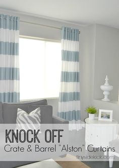 DIY Grommet Top Curtains {a Crate & Barrel Knock Off} #DIYcurtains #crateandbarrelknockoff #knockoffdecor