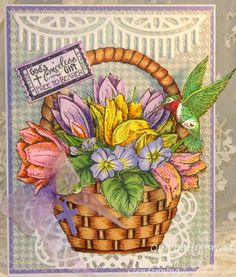 Stamps - Our Daily Bread Crocus 2, Hummingbird, Admit 3, Violet Single, Tulip Corner, Basket of Blessings, ODBD Custom Mini Tags Dies, ODBD Custom Hummingbird Die, ODBD Custom Beautiful Borders Dies, ODBD Custom Doily Dies, ODBD Soulful Stitches Paper Collection