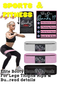 Elite Booty Bands 3 Pack For Legs Thighs Hips and Butt. Resistance Loops Elastic Fabric Non Slip No Roll Up, 3 Forces Exercise Fitness Bands Workout Glute Bands Women Squat Bands + Carrying Pouch Glute Bands, Exercise Bands, Resistance Loops, Leg Thigh, Glutes, Squats, Thighs, Pouch, Booty
