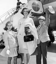 Lauren Bacall  and her two children, Leslie and Stephen