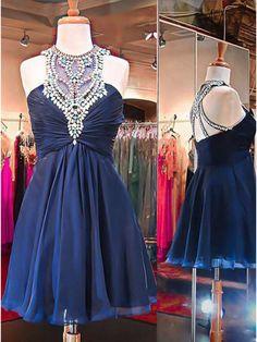 Tulle Prom Gown,Cute Prom Dress,Dark Blue Mini Prom