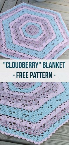 The Cloudberry blanket, or lapghan, is shaped as a hexagon made with the super soft Scheepjes Eliza yarn.