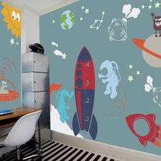 Outer Space Playroom Decal for Kids   Nursery by pinknbluebaby, $196.00