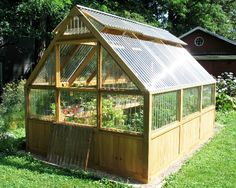 One of our customers 12' cedar greenhouse kits in the garden. Lexan Corrugated polycarbonate covering