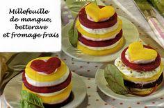 millefeuille de mangue, betterave et fromage frais