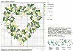Mistletoe heart cross stitch