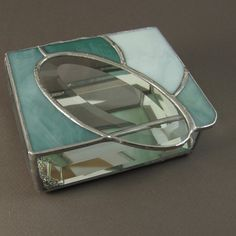 Teal and Oval Bevel Stained Glass Box by JiSTglass on Etsy, $45.00