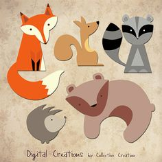 Woodland Animals Digital Clip Art  Fox by CollectiveCreation, $4.00