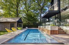 """Architecture and design firm Audax designed Bilateral House, a 116 year old home renovation that was completed in The residence is located in Toronto, Canada. """"The homeowners of Bilateral Hou… Sustainable Architecture, Architecture Design, Outdoor Spaces, Outdoor Living, Old Home Renovation, Toronto, Courtyard Pool, Weekend House, Modern Pools"""