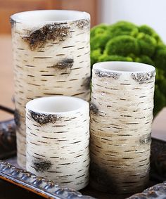 Birch Bark Pillar Candle Set