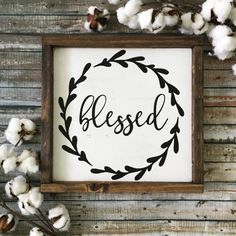 Blessed Sign Fall Sign Rustic Wood Sign by CoastalCraftyMama