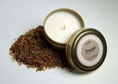 Trovador 4oz tin// Tobacco, Vanilla// Hand-Poured Natural Soy Candle