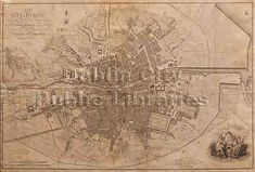 Plan of Greater Dublin including Circular Roads, Dublin Map, Dublin City, City Library, Old Maps, City Maps, Present Day, Capital City, 17th Century, Vintage World Maps