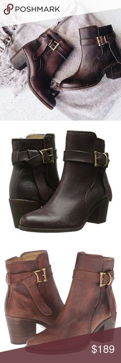 The Frye  Malorie Knotted Short boot Dark Brown 10 The Frye® Malorie Knotted Short boot brings a sleek, sophisticated style to your everyday look.  Polished stonewash leather upper. Leather is tumbled with stones then polished for a soft touch.  Features extra long strap that is wrapped around the ankle with a stylish metal buckle and relaxed knot accent. Full length side zip for easy on and off. Smooth leather lining. Cushioned leather insole provides lasting comfort. Distressed heel and…